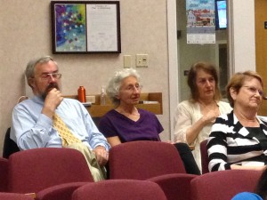 Matt Williams, Donna Lemongello, and Sue Greenwald listen intently to council discussion on Tuesday night.