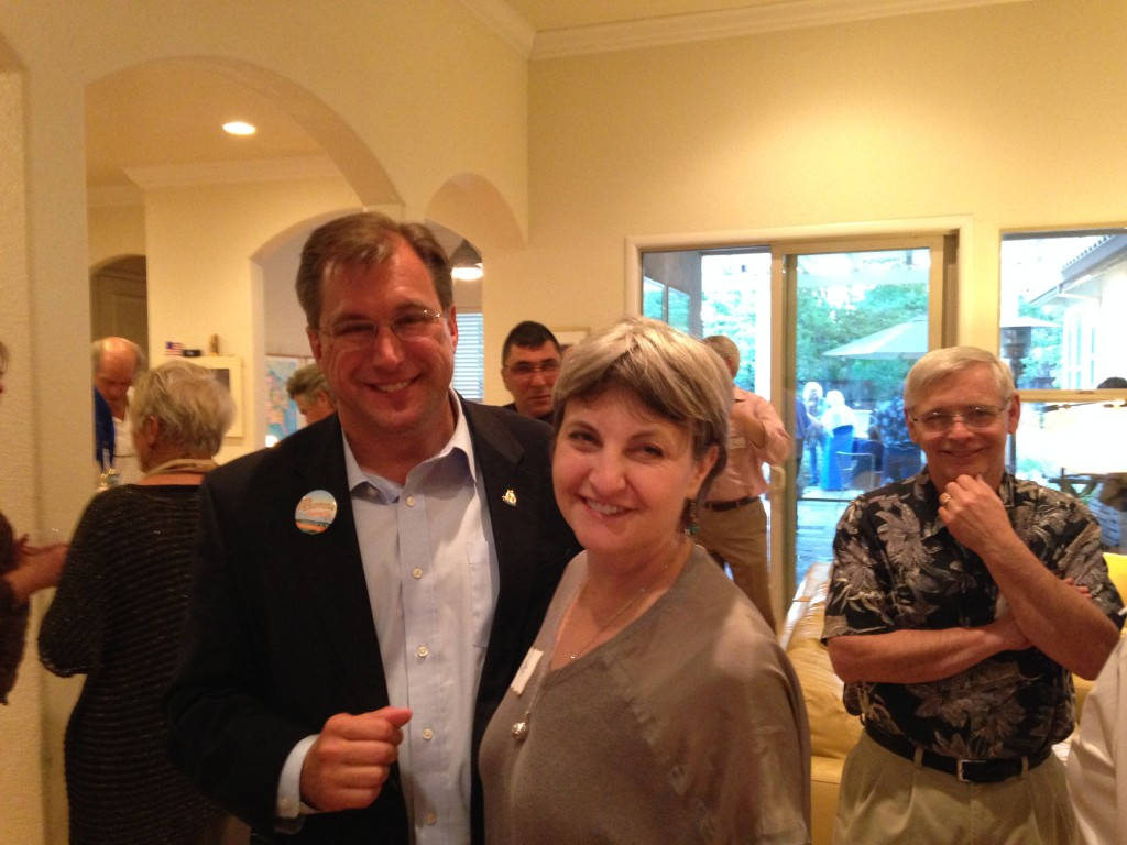 Joe Krovoza and wife Janet attend their party in South Davis on Tuesday night.