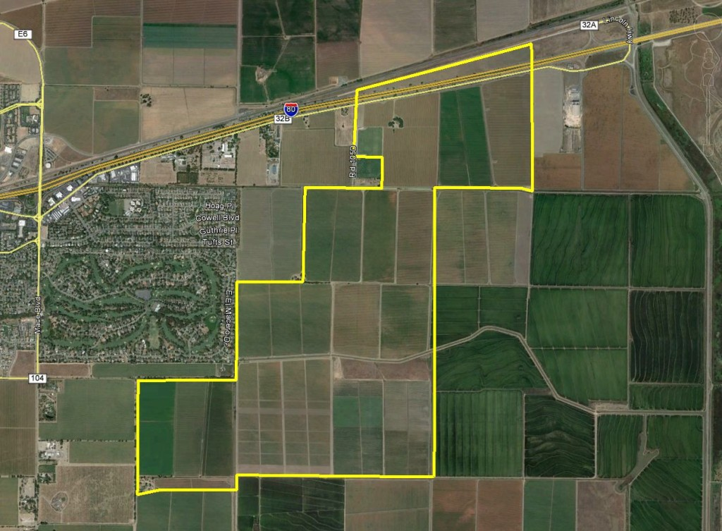 Aerial map of the entire property.  Proposed Innovation Park along I-80