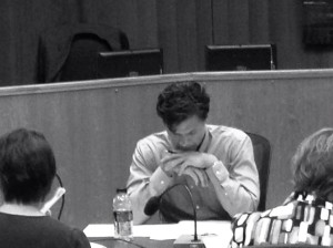 Councilmember Brett Lee carefully considers the options before him