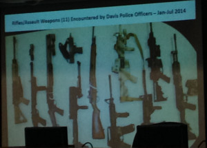 A slide presented by Chief Black depicting weapons found in this community