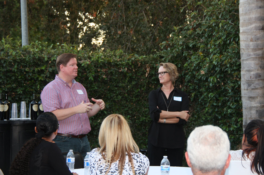 Chief Innovation Officer Rob White introduces Lawrence Livermore Economic Development Director Betsy Cantwell, Wednesday night at the Vanguard 8th Birthday Party
