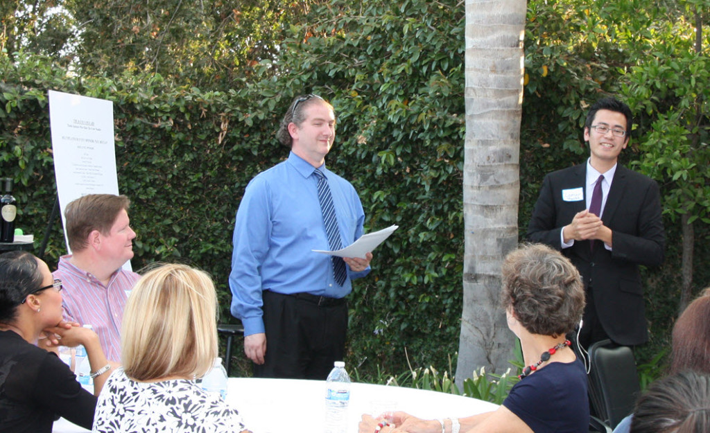 David Greenwald introducing former Councilmember Lamar Heystek on Wednesday at the 8th Birthday.