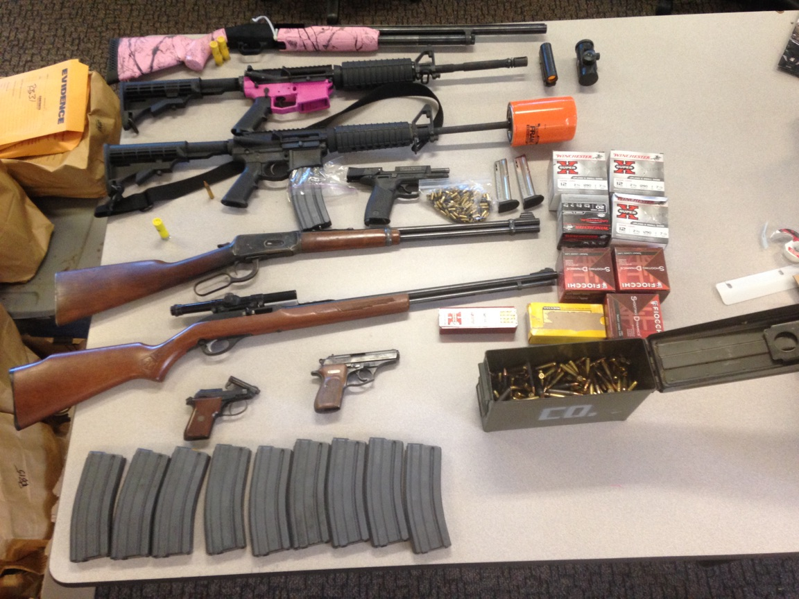 Weapons seized by police at Royal Oak Mobile Home Park - photo courtesy of Davis Police