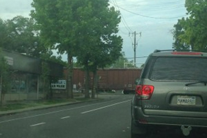 Train Blocks Traffic in Downtown Davis