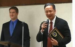 Jeff Adachi receiving the Vanguard Justice Award in November 2013