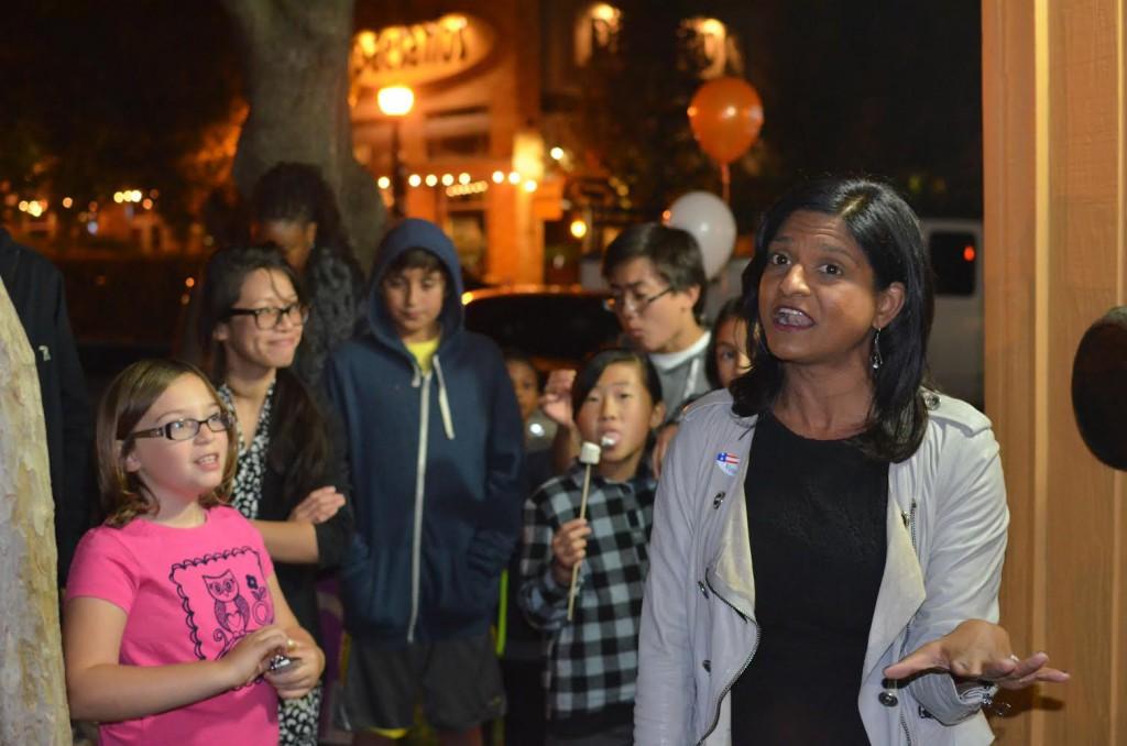 Madhavi Sunders addresses supporters on election night