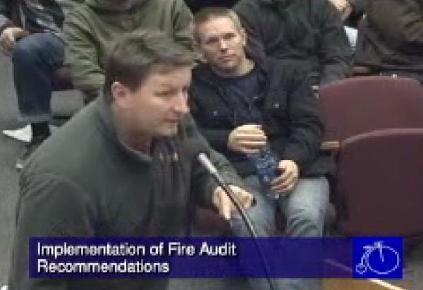 Davis Firefighters Union President Weist speaks out in 2012.