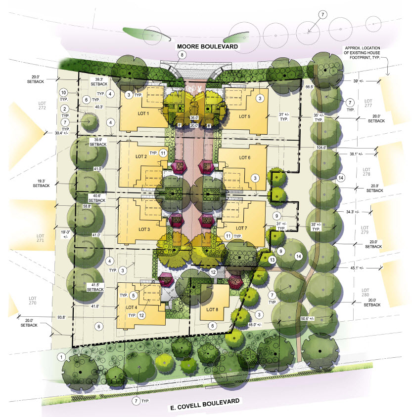 Latest proposal keeps the greenbelts, keeps eight units, and keeps the canary pines on public land - will the neighbors and council be able to support it?
