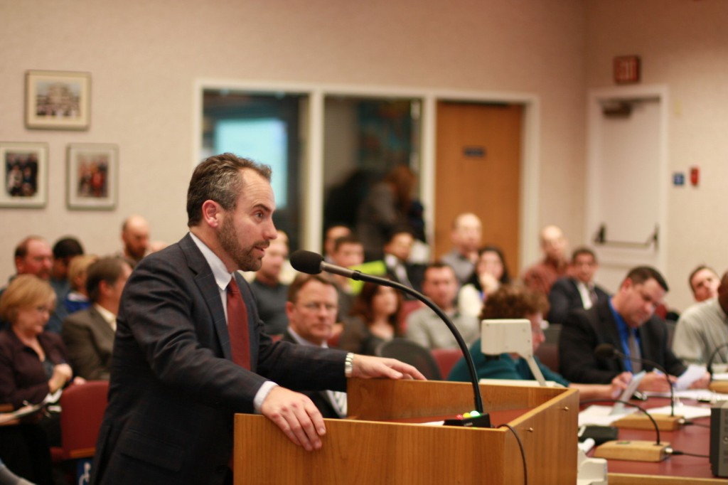 Jason Taormino presents the Paso Fino project before the City Council on Tuesday