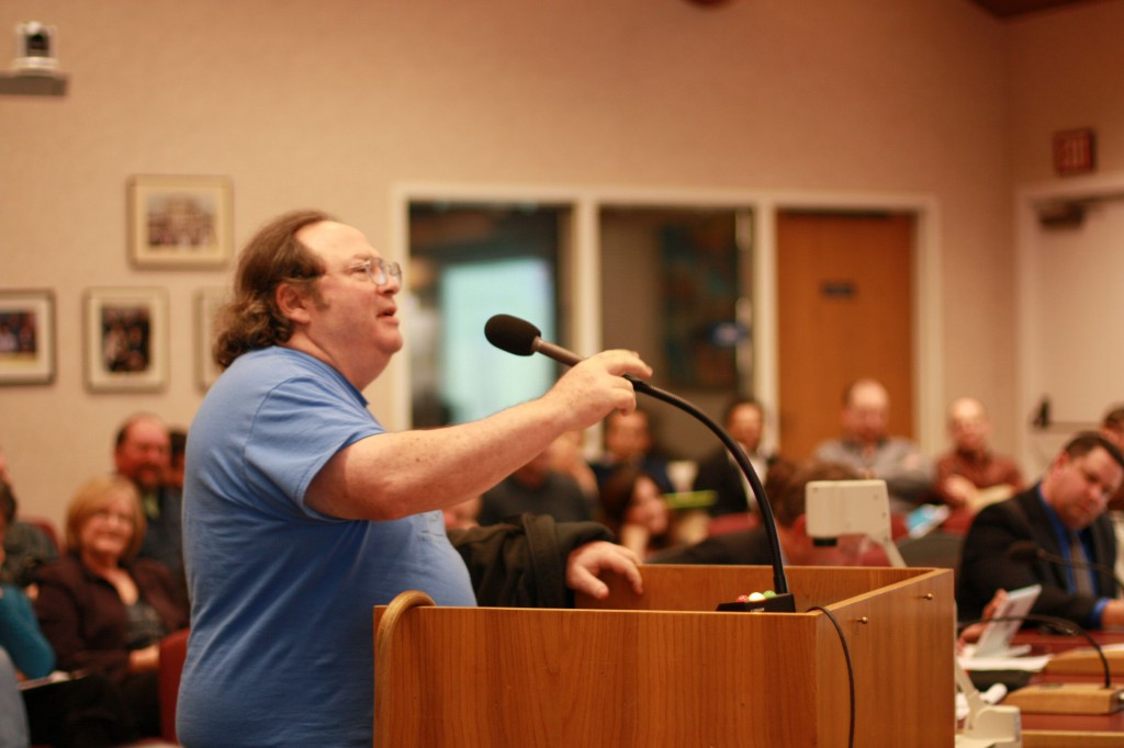 Ron Glick was the only community member to speak in support of the developer's proposal.  He got into an exchange with the audience over his views.