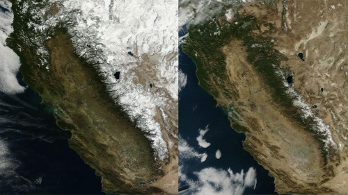 These NASA images from 2013 and 2014 illustrate the impact of the drought.