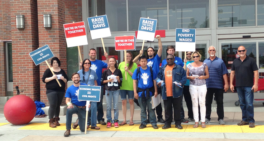 Minimum Wage proponents gathered last spring outside of Davis Target