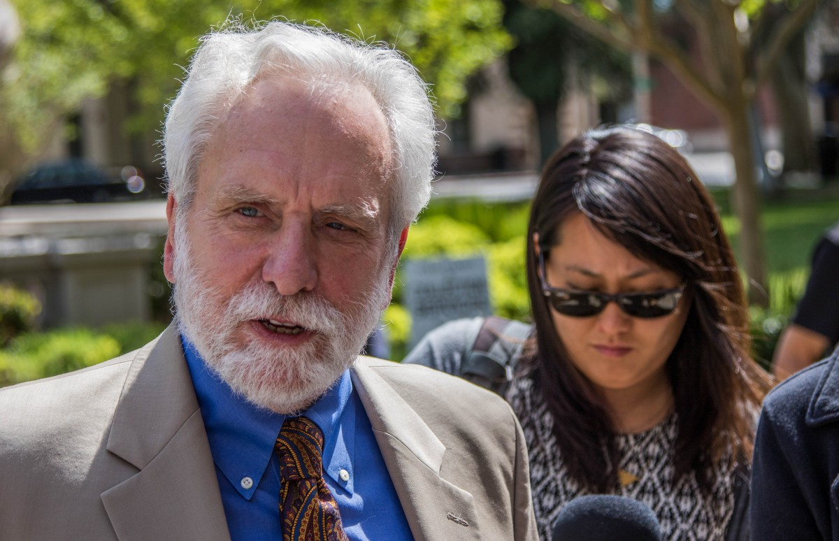 Defense Attorney Dennis Riordan addresses media following sentencing