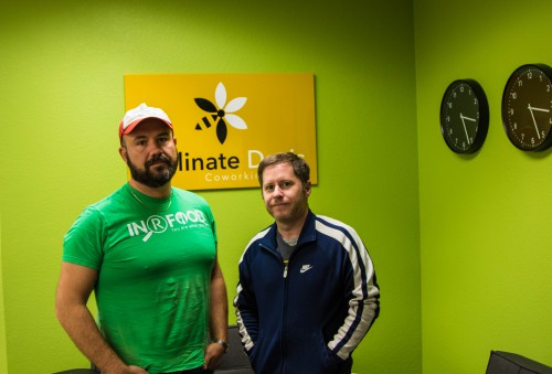 Keeva Kase (left) with Pastor Bill Habich (right) at Pollinate Davis.