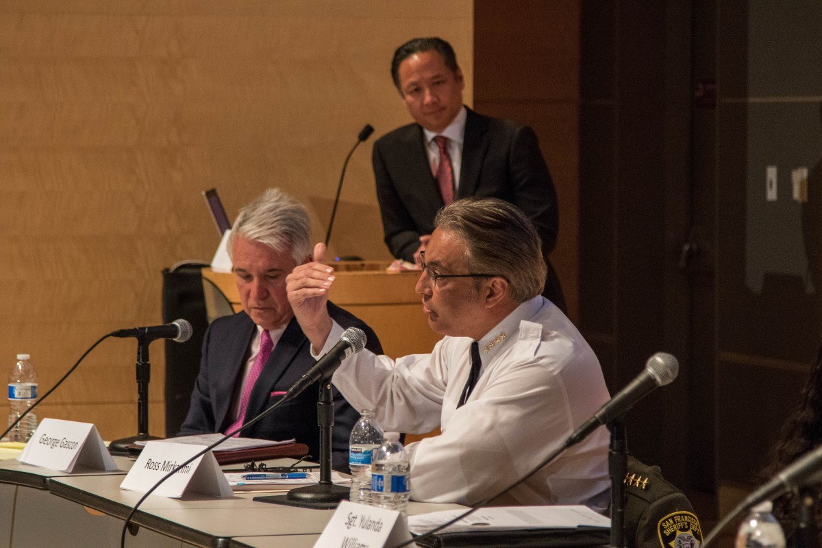 Sheriff Mirkarimi speaks as Jeff Adachi looks on