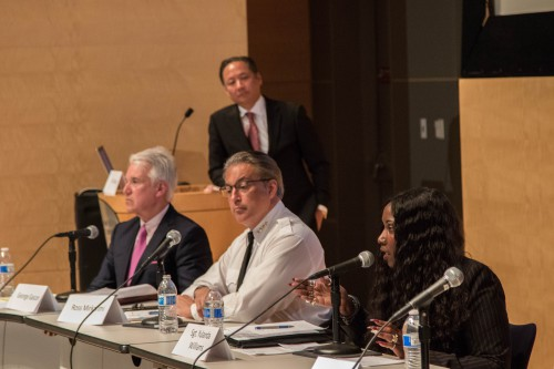 Sgt. Williams speaks in April 2015 with former Sheriff Ross Mirkarimi and DA George Gascon to her right as Public Defender Jeff Adachi looks on
