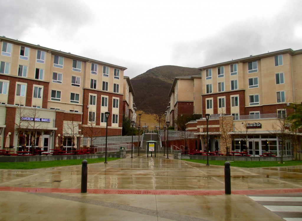 Poly Canyon Village on 30 acres houses 2600 students within a mixed use project.
