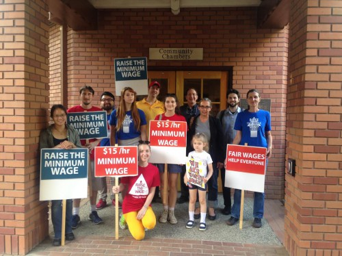 Local Supports in June at City Hall lobby for minimum wage hike