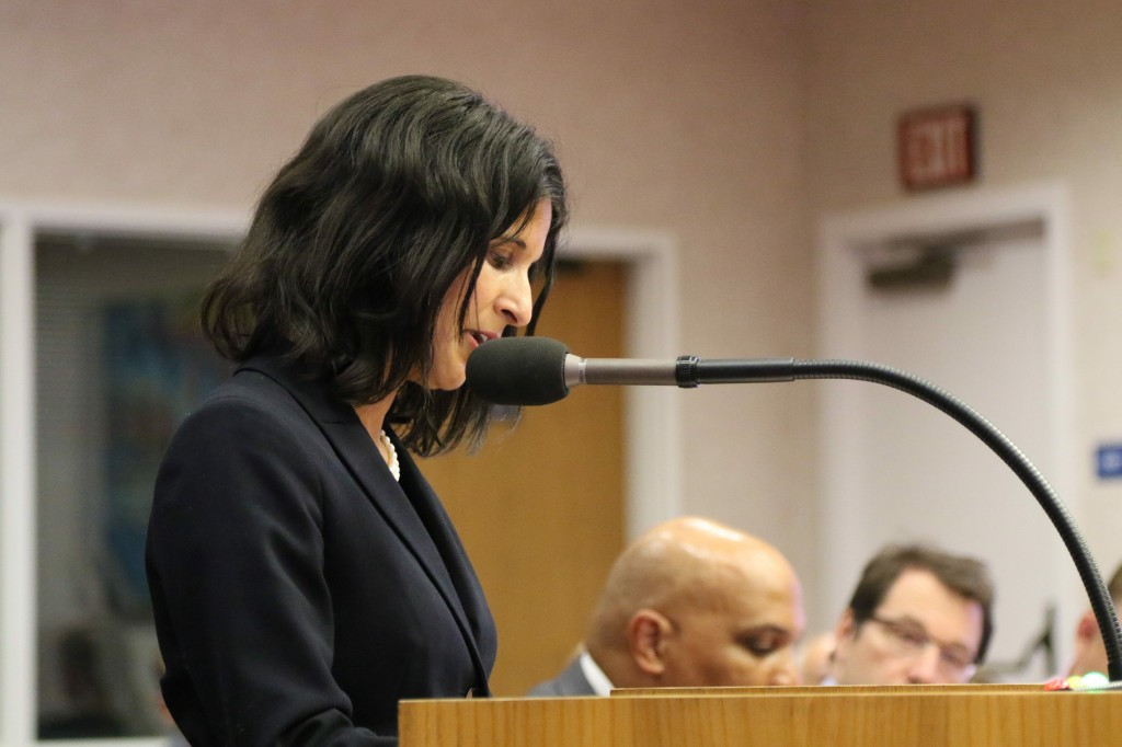 Shama Mesiwala reads from her email exchange with a board member