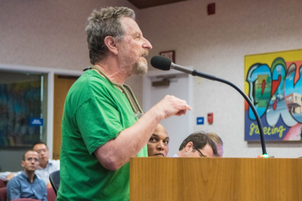 Frank Fox a retired educator delivered impassioned comments