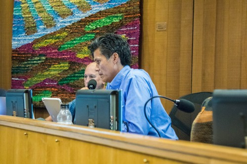 Councilmember Brett Lee makes remarks at a recent council meeting