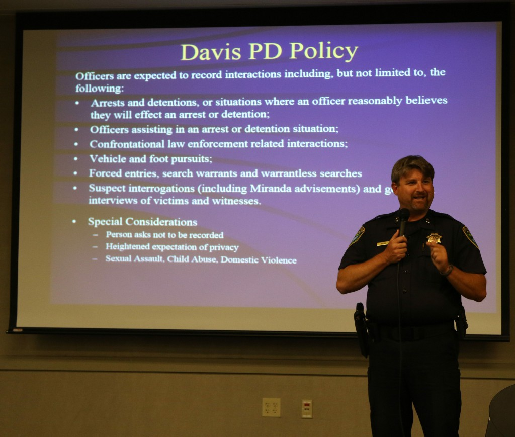 Assistant Chief Darren Pytel presents the proposed Davis PD Body Worn Camera policy