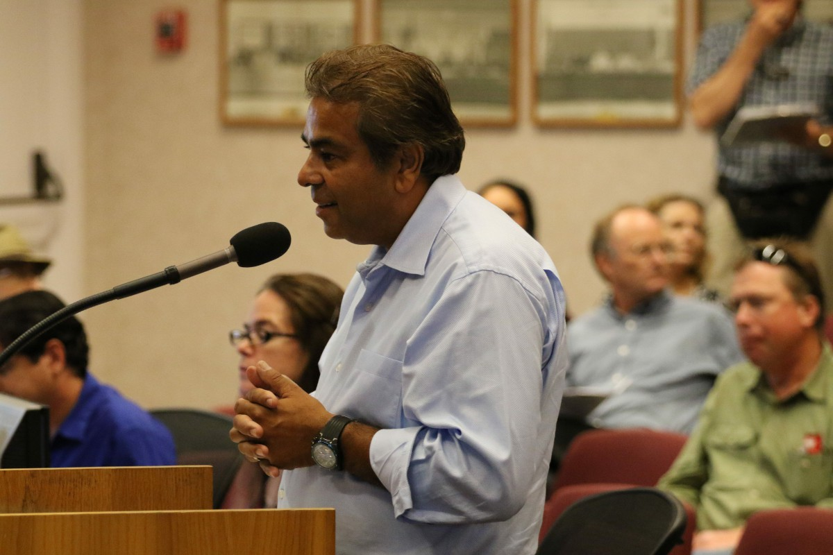Applicant and Owner Ashok Patel addresses council in August 2015