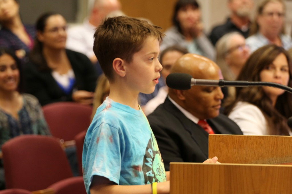 Adam a sixth grader at Willet brought the house down asking the school board to keep AIM program
