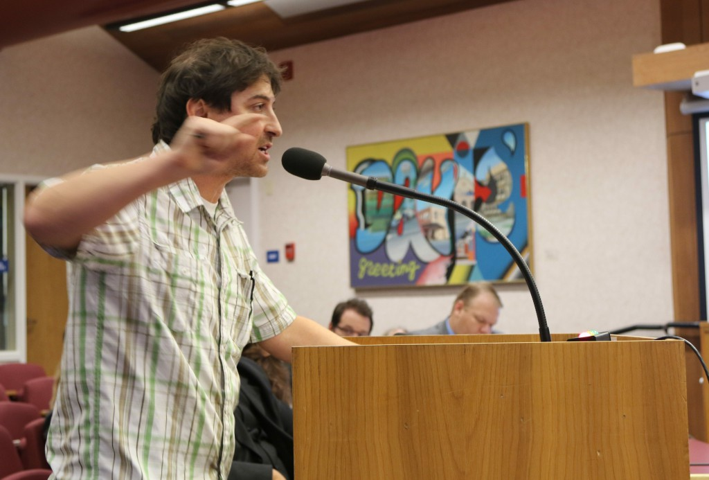 Teacher Greg Brucker got a little animated at the end of public comment