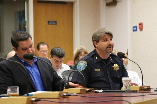 Assistant Chief Darren Pytel (right) addressed council at recent meeting on the late night Downtown scene