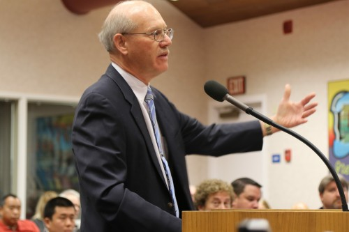 Former Mayor Bill Kopper represented Blondie's at the September 29 City Council Meeting