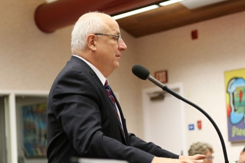 Michael Harrington addresses council in September at Public Comment
