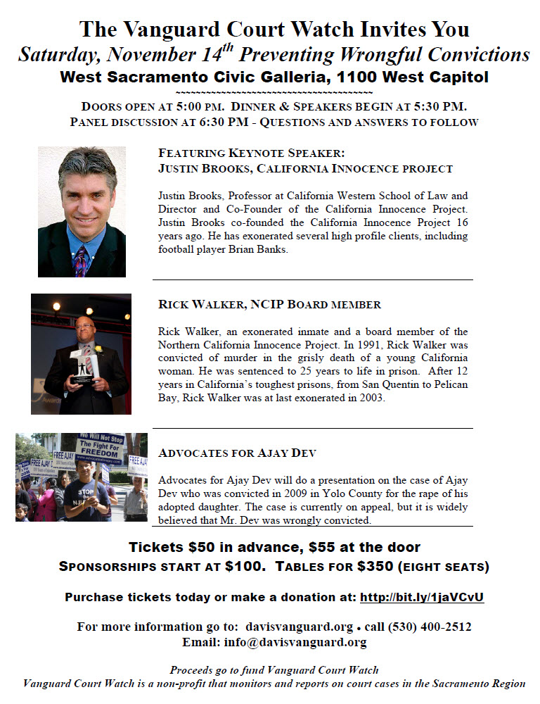 Catch our discussion on Wrongful Convictions on November 15 - click on the photo to purchase your tickets