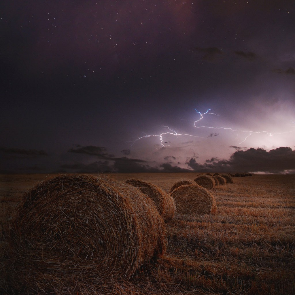 storm over hay field