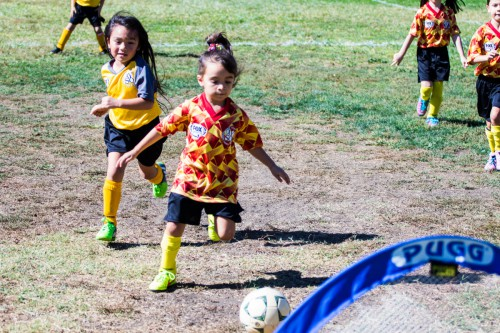 My daughter scores a goal this weekend playing on a makeshift soccer field at Davis Community Park