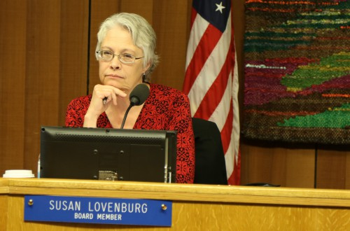 Susan Lovenburg listens at the November School Board Meeting