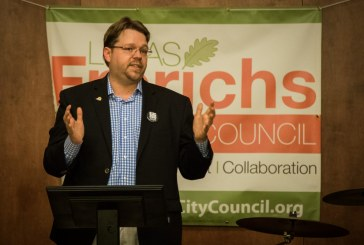 Frerichs Launches Reelection Bid to a Good Crowd at Odd Fellows Hall