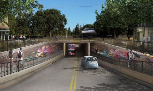 Proposed Nishi Underpass to campus is a key traffic mitigation measure written into the project baseline features