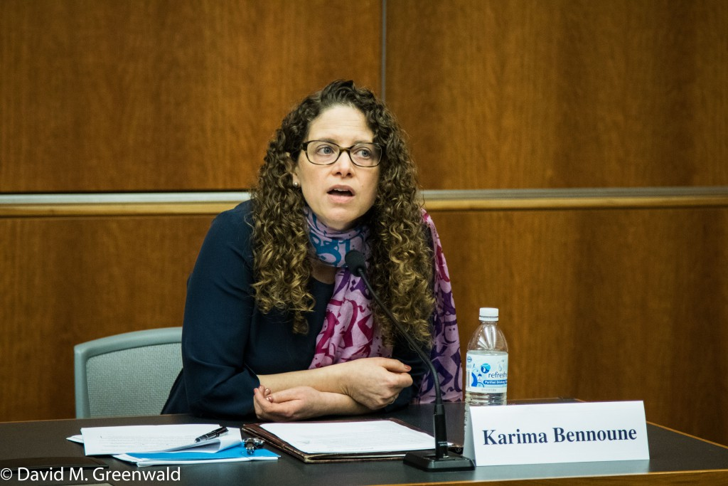 Professor Karima Bennoune during Tuesday panel discussion at the UC Davis School of Law