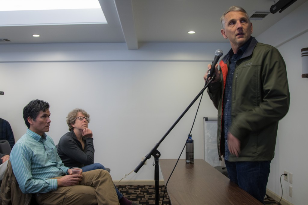 Tim Ruff presents on Saturday with Brett Lee and Katherine Hess looking on