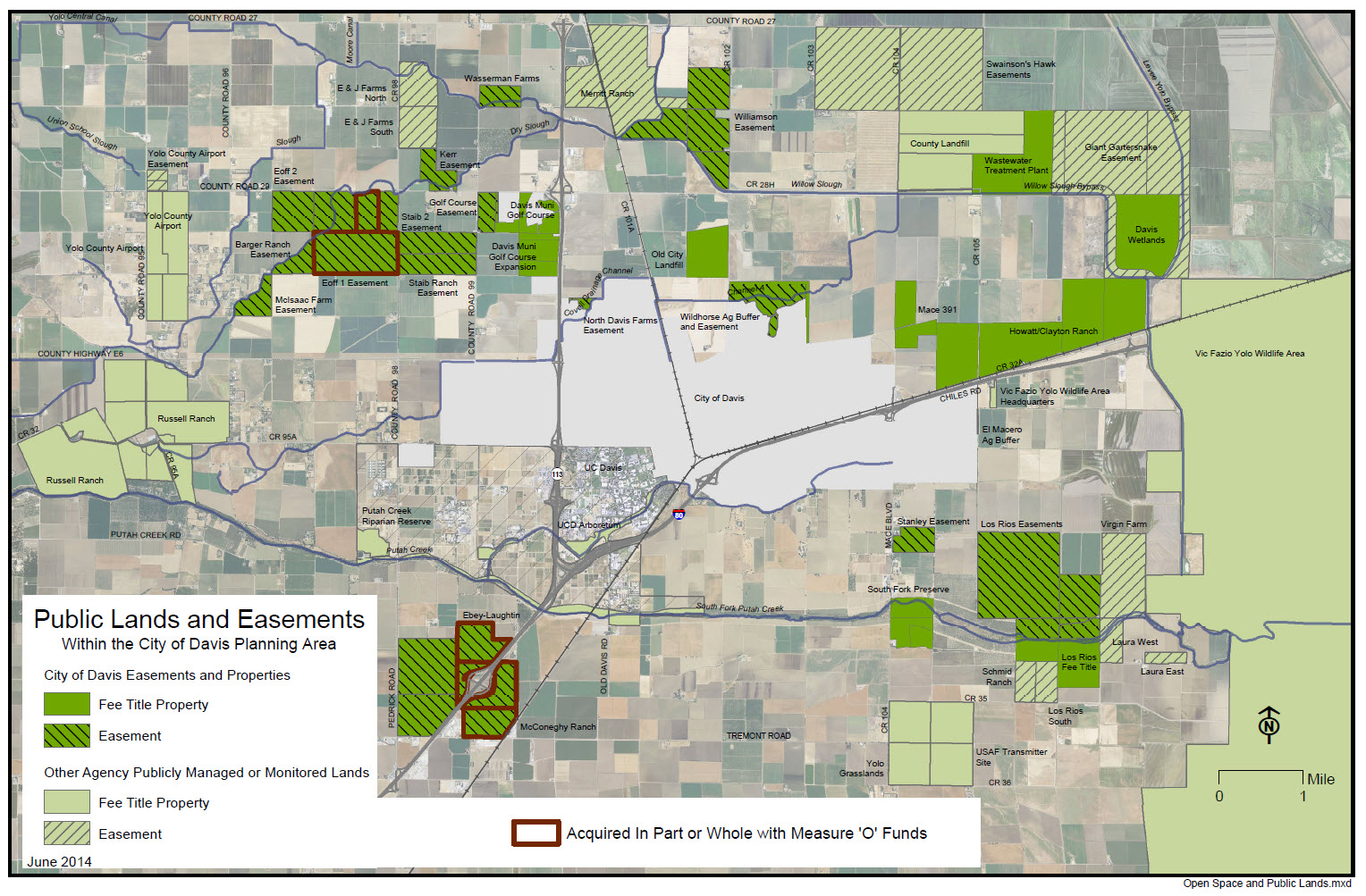 The open space map shows the mitigation lands that are scattered far from the Davis boundary