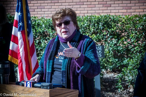 Former State Superintendent of Public Instruction Delaine Eastin spoke at a rally in Davis back in February