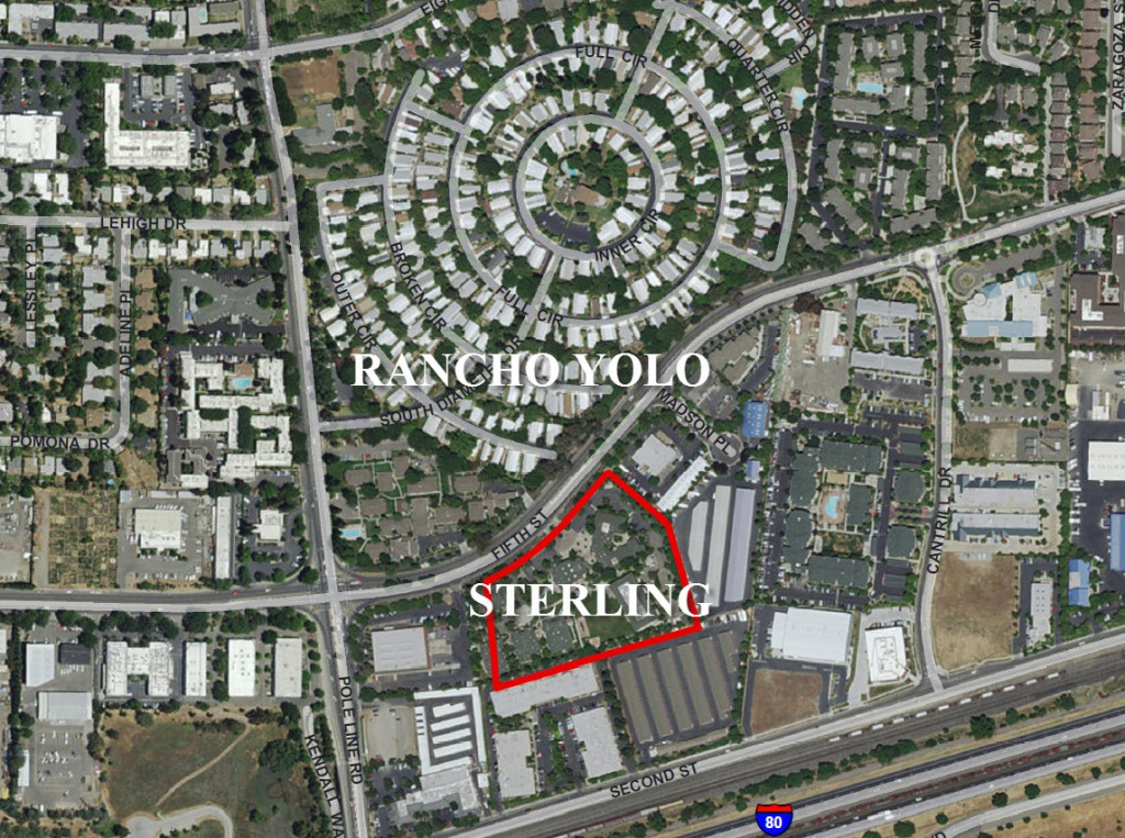 Aerial Map showing proposed Sterling Apartments in relation to Rancho Yolo