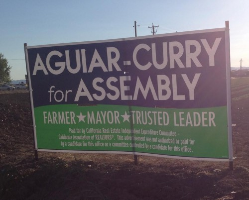 Aguiar-Curry sign is paid for by an IE/ Courtesy Photo