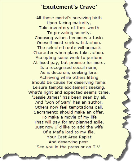 Poem sent to Sacramento Bee