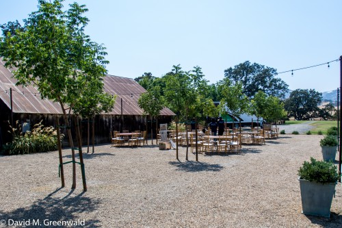 The outdoor event area which was setting up for a Sunday Wedding