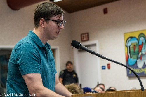 Sean Raycraft addressing council on Tuesday night on the issue of the Gandhi Statue