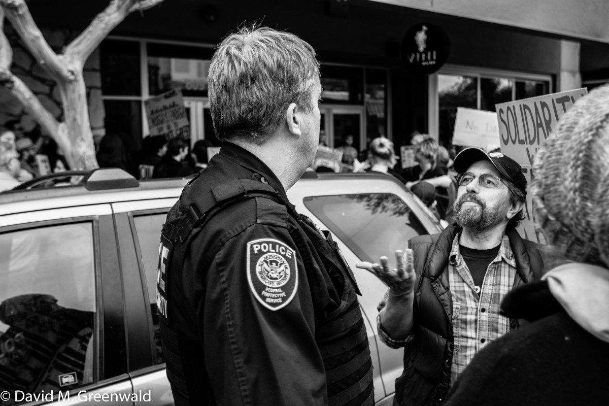 DHS Police Officer interactions with a protester