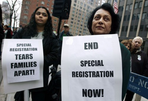 "A civil rights protest against ""special registration"" in late 2003. Mario Tama/Getty Images"